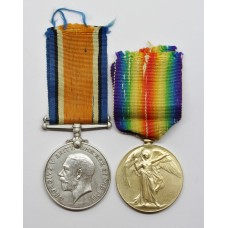 WW1 British War & Victory Medal Pair - Pte. L. Grunwell, West Riding Regiment