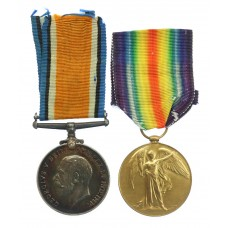 WW1 British War & Victory Medal Pair - Pte. B.S. Whyberd, Rif