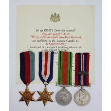 Rare WW2 Operation Aquatint Medal Group of Four with MID Certificate - Sergeant Abraham Opoczynski, Auxiliary Military Pioneer Corps (alias Sergeant Adam Orr, Royal West Kent Regiment) - Captured in a Small Scale Raiding Force Operation on the French Coast in September 1942 and Died in Germany in April 1945 (had he survived he would have been awarded the M.M.)