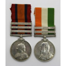 Queen's South Africa (Clasps - Relief of Kimberley, Paardeberg, Johannesburg) and King's South Africa (Clasps - South Africa 1901, South Africa 1902) Medal Pair - Pte. G. Wapling, Norfolk Regiment