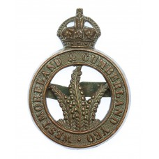 Westmorland & Cumberland Yeomanry Officer's Service Dress Cap Badge - King's Crown