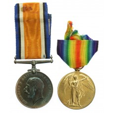 WW1 British War & Victory Medal Pair - Pte. F.C. Morton, Nort