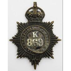Metropolitan Police 'K' Division (Bow) Helmet Plate - King's Crow