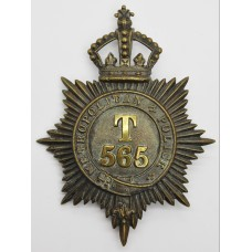 Victorian Metropolitan Police 'T' Division (Hammersmith) Helmet Plate