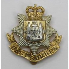 East Surrey Regiment Anodised (Staybrite) Cap Badge - Queen's Crown