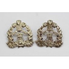 Pair of Middlesex Regiment Officer's Silver Collar Badges