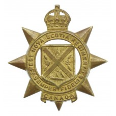 Canadian West Nova Scotia Regiment Cap Badge - King's Crown