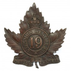 Canadian 19th Lincoln Regiment Cap Badge - King's Crown