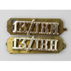Pair of 13th/18th Hussars (13/18H) Anodised (Staybrite) Shoulder