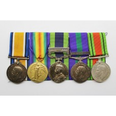 WW1 British War & Victory Medal, India General Service Medal (Afghanistan N.W.F. 1919), General Service Medal (Iraq) & WW2 Defence Medal Group of Five - Gnr. J.S. Taylor, Royal Artillery
