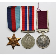 WW2 Prisoner of War Long Service & Good Conduct Medal Group of Three - W.O.II. E. Holt, 1/8th Bn. Lancashire Fusiliers