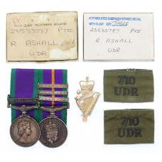 Scarce 1962 General Service Medal (Clasp - Northern Ireland) and Accumulated Campaign Service Medal (with 3 Clasps) Pair with Medallion, Badges, Boxes, Certificates, Etc. - Pte. R. Ashall, 7th / 10th (City of Belfast) Bn. Ulster Defence Regiment