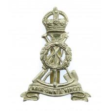 Royal Pioneer Corps White Metal Cap Badge - King's Crown