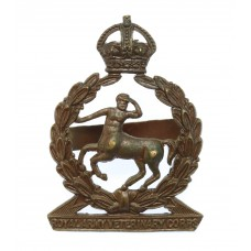 Royal Army Veterinary Corps (R.A.V.C.) Officer's Service Dress Cap Badge - King's Crown