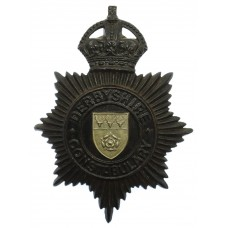Derbyshire Constabulary Night Helmet Plate - King's Crown