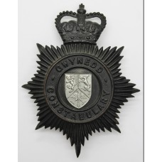 Gwynedd Constabulary NIght Helmet Plate - Queen's Crown