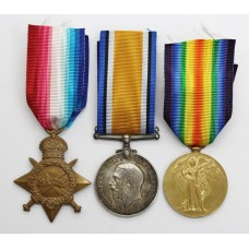 WW1 1914-15 Star Medal Trio - Pte. G. Lyne, 17th (2nd City Pals) Bn. Manchester Regiment - Wounded In Action (Somme)