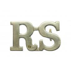 Royal Scots (R.S.) White Metal Shoulder Title
