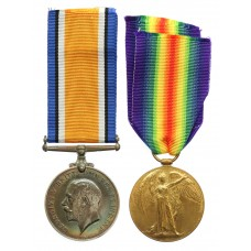 WW1 British War & Victory Medal Pair - Pte. A.J. Fowler, East Kent Regiment