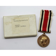 George VI Special Constabulary Long Service Medal in Box - Sergt. James Capell, Northamptonshire Constabulary