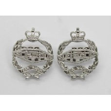 Pair of Royal Tank Regiment  (R.T.R.) Anodised (Staybrite) Collar Badges