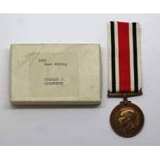 George VI Special Constabulary Long Service Medal in Box - Charles P. Rishworth, East Riding of Yorkshire Constabulary