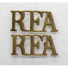 Pair of Royal Field Artillery (R.F.A.) Brass Shoulder Titles