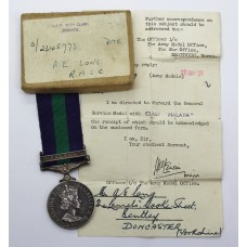 General Service Medal (Clasp - Malaya) - Pte. A.E. Long, Royal Army Service Corps