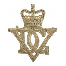 5th Royal Inniskilling Dragoon Guards Officer's Silvered Cap Badge - Queen's Crown