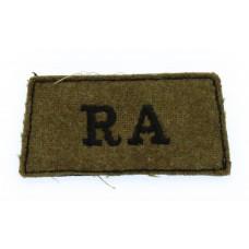 Royal Artillery (R.A.) WW2 Cloth Slip On Shoulder Title