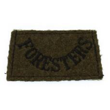 Notts & Derby Regiment Sherwood Foresters (FORESTERS) WW2 Cloth Slip On Shoulder Title