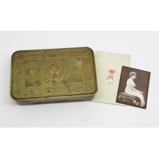 1914 Princess Mary Christmas Gift Tin with Christmas Card & Photo