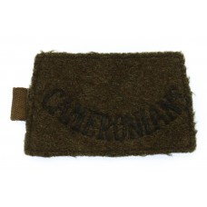 The Cameronians Scottish Rifles (CAMERONIANS) WW2 Cloth Slip On Shoulder Title
