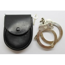 Hiatts Police Snap-On Handcuffs with Key & Pouch