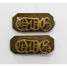 Pair of 1st Queen's Dragoon Guards (QDG) Brass Shoulder Titles