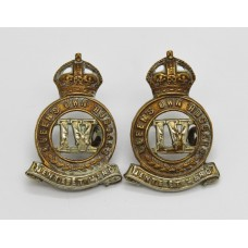 Pair of 4th Queen's Own Hussars Collar Badges - King's Crown