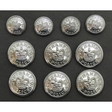 Set of 10 Southampton Police Buttons - Queen's Crown