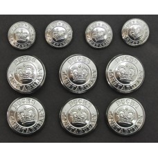 Set of 10 Buckinghamshire Constabulary Buttons - Queen's Crown