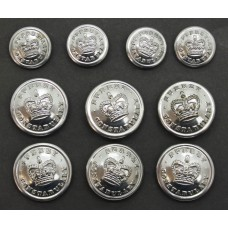 Set of 10 Surrey Constabulary Buttons - Queen's Crown