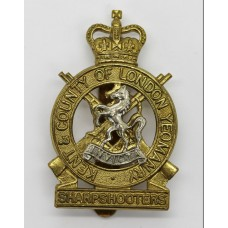 Kent & County of London Yeomanry (Sharpshooters) Bi-metal Cap Badge - Queen's Crown