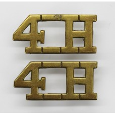 Pair of 4th Queen's Own Hussars (4H) Shoulder Titles