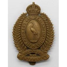 1st Cantebury Regiment New Zealand Infantry Cap Badge - King's Cr