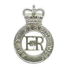 Army Fire Service Anodised (Staybrite) Cap Badge - Queen's Crown