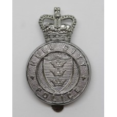 Hull City Police Cap Badge - Queen's Crown (Solid Centre)