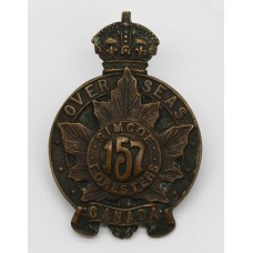 Canadian 157th (Simcoe Foresters) Infantry Bn. C.E.F. WWI Cap Badge