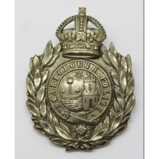 Scarborough Borough Police Wreath Helmet Plate - King's Crown