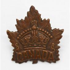 Canadian Canada WWI General Service Cap Badge (Birks 1915)