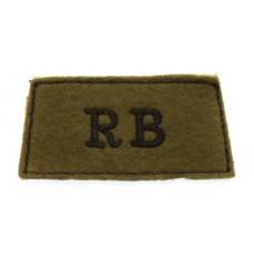 Rifle Brigade (R.B.) Cloth Slip On Shoulder Title