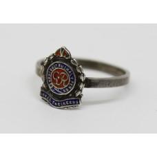 George VI Royal Engineers Silver & Enamel Ring