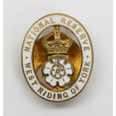 National Reserve West Riding of York Enamelled Lapel Badge (White)